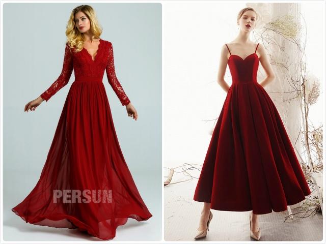 robe rouge bordeaux longue 2020